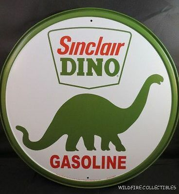 METAL TIN ROUND SINCLAIR DINO GASOLINE SIGN Gas green dinosaur Made in USA US