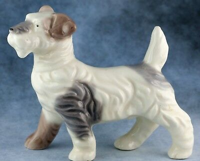 Vintage Ceramic Tricolor Terrier Dog Figurine Gloss Finish 3.75 Inches
