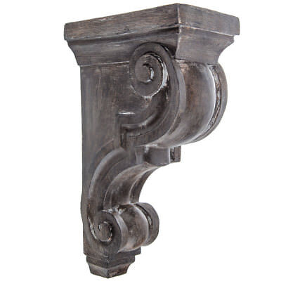 Rustic Set of 2 Corbel Wall w/ Brackets Large Distressed Gray Brown Corbels