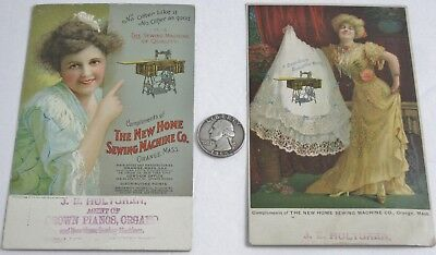 Lot 2 Antique Victorian Ladies Postcards New Home Sewing Machine Co Orange Mass.