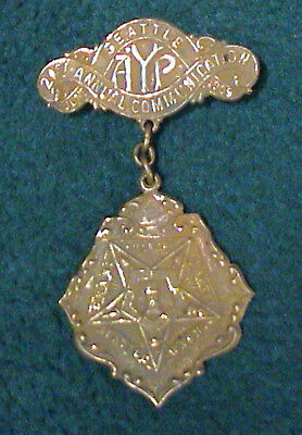 1909 Alaska Yukon Pacific Exposition Masonic Eastern Star Metal Pin Badge