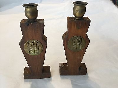 Vintage wood and brass candlesticks the Ten Commandments
