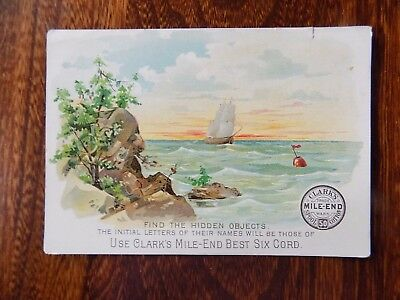 Victorian Trade Card, Clark's Mile-End Best Six Cord, Find the Hidden Objects