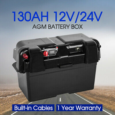 Battery Box 130AH AGM Deep Cycle Dual System 12V 100AH USB Charger Car Truck
