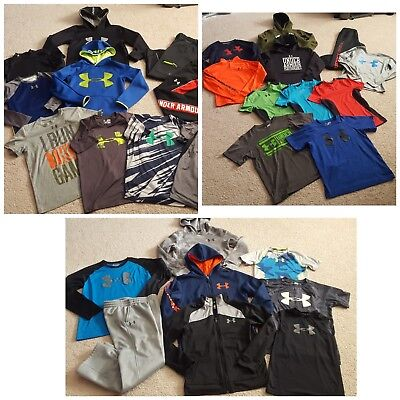 Under Armour Boy's M Huge 29 piece Clothing Lot Hoodies Pants Shirts Compression