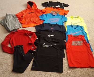 NIKE Boy's M 13 piece Athletic Clothing Lot Hoodie Shirts Pants Compression