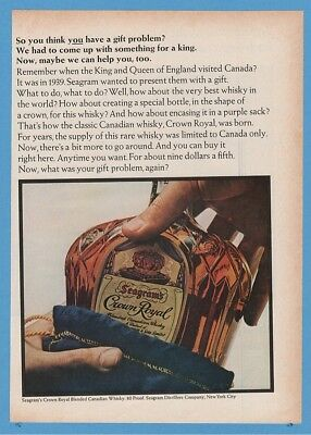 1966 Seagrams Crown Royal Canadian Whisky Bottle and Bag Magazine Ad