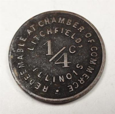 LITCHFIELD ILLINOIS Sales Tax Token GF 1/4¢ at Chamber of Commerce 16mm WG1019
