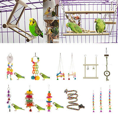Parrot Pet Bird Chew Cages  Toys Wood Large Rope Cave Ladder Bells Chew Toy