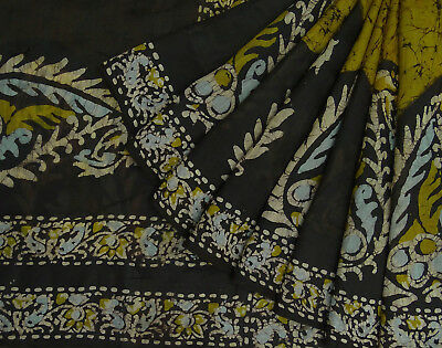 Craft Fabric Vintage Indian Saree Batik Printed Green Pure Silk Used Sari 5Yd.