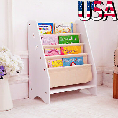 Kids Sling BookShelf Storage Rack Organizer Bookcase Display Holder Bedroom US