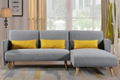 50% OFF- Fabric 3 Seater Light Grey Sofa Bed L Shaped Corner Chaise Sofa
