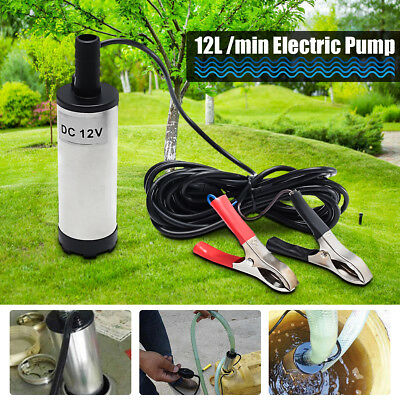 Car 12V DC 38mm Electric Submersible Water Oil Diesel Fuel Pump 8700r/min Silver