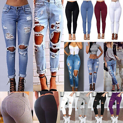 Womens Destroyed Ripped Denim Jeans Slim Stretch Pencil Pants Trousers Leggings