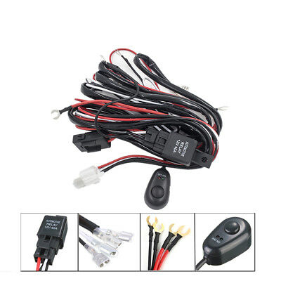 Wiring Loom Harness 12V 40A Relay Switch Kit For LED HID Work Driving Light Bar