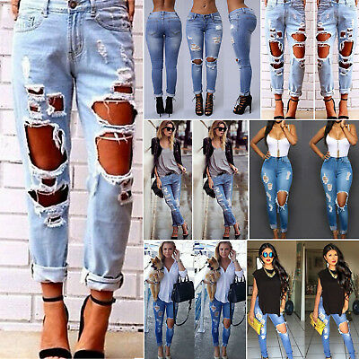 Women Denim Skinny Ripped Frayed Pants High Waist Stretch Jeans Pencil Trousers