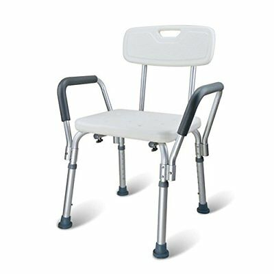 Comz Adjustable Skidproof Aluminium Alloy Shower/Bath Chair Seat with Back & Arm