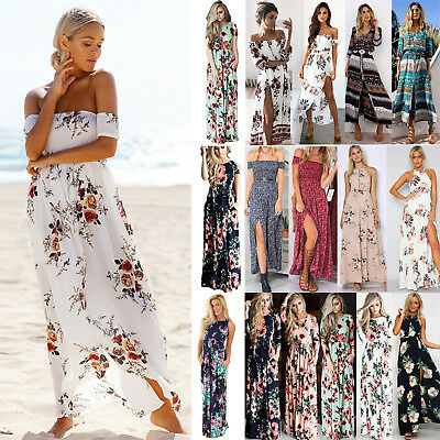 Women Boho Floral Maxi Dress Holiday Beach Party Off the Shoulder Long Sundress