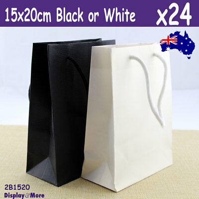 24X Paper Gift Bag with Handle | 15x20cm | Black or White | AUSSIE Seller