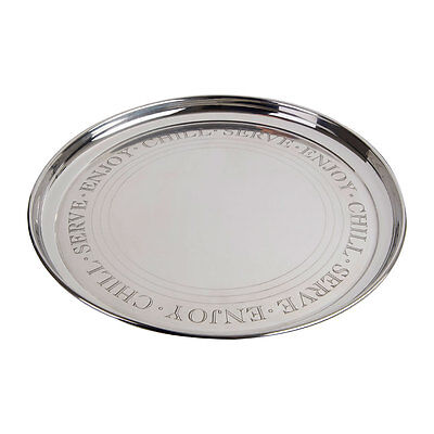 Bombay 35cm Round Serving Platter Tray Stainless Steel Silver Drinks Bar Plate