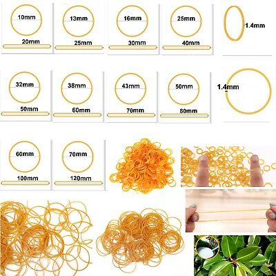 9 Sizes Yellow Natural Rubber Strong Elastic Bands 1.4mm Width Eco Quality