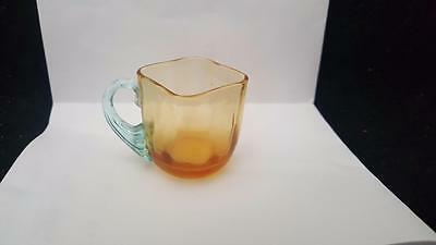 Antique Miniature Toy Childs Amber Glass Square Cup