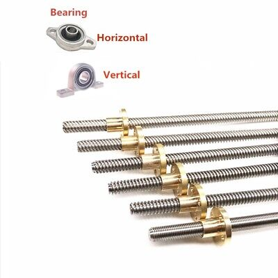 T12x8 Lead Screw Trapezoidal Rod Picth 2mm Lead 8mm & Brass Nut up to 1000mm