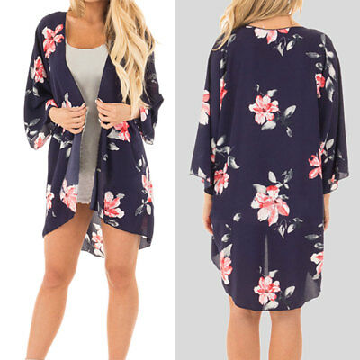 b2dcfa8047d 2018 Women Floral Plus Size Cardigans Shirt Ladies Oversize Thin Shirt  Kimono US