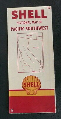 1952 California road map WY Shell oil Pacific Southwest #12 Yosemite Park insert