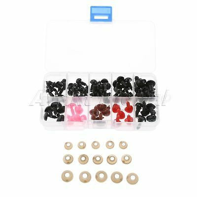 50Pcs Plastic Doll Safety Eyes + 25pcs Safety Nose(washers)Teddy Bear Puppet DIY