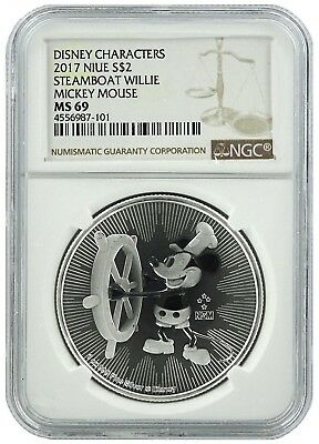 2017 Niue 1oz Silver Mickey Mouse Steamboat Willie Coin NGC MS69 - Brown Label