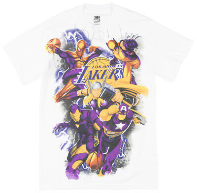 Marvel Comics NBA Lakers The Avengers Basketball T-Shirt Mens White