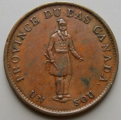 1837 LC-8B1 Lower Canada Canadian  Un Sou 1/2 Penny Quebec Bank  Token