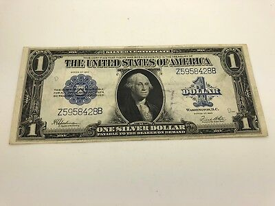1923 $1 Silver Certificate Large Note Nice Condition Horse Blanket