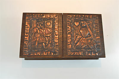 Original Arts and Crafts oak and copper Bridge playing cards box circa.1900