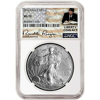 2016 1oz Silver American Eagle NGC MS70 - Liberty Coin Act Label