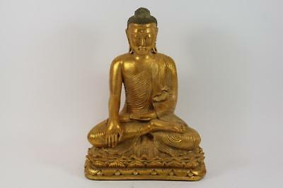 40 cm Skulptur Buddha in Meditation auf Thron Südostasien Gold