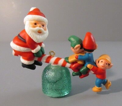 "1983 Avon  ""Santa's See-Saw"" Santa and Elves on Gumdrop See-Saw Ornament"