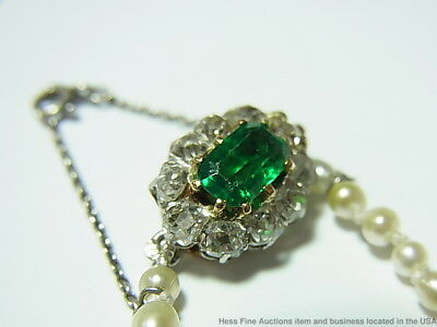 GIA Natural Pearl 1ct Old Euro Diamond 1ct Emerald Gem Necklace French Hallmarks