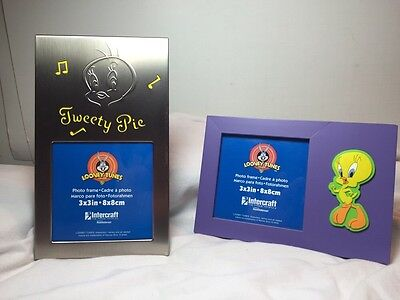 "Tweety Bird Looney Tunes 3""x 3"" Picture Frames Lot 2 New! Warner Brothers"