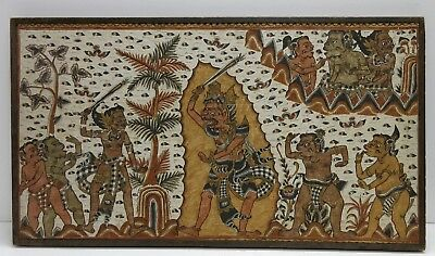 Balinese Painting On Silk Depicting Battle Of Gods and Men Mounted To Panel