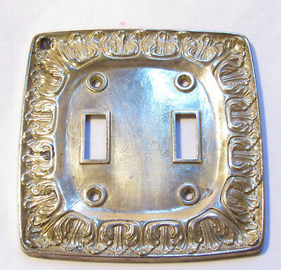 Vintage Solid Brass Metal Kirsch Chateau Double Toggle Light Switch Plate Cover