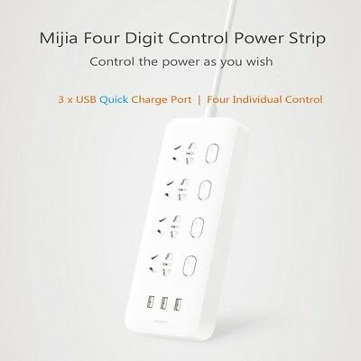 Original XiaoMi Smart Power Strip 3 USB Charging Ports 4 Sockets Quick Charge