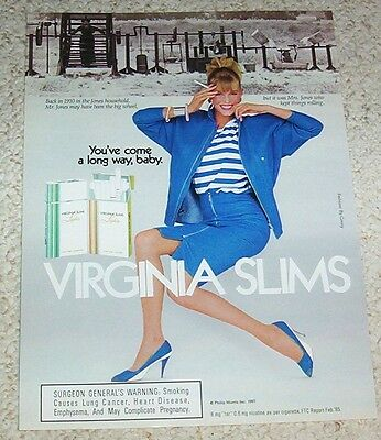 1987 print ad page -Virginia Slims cigarettes sexy Girl smoking Jones household