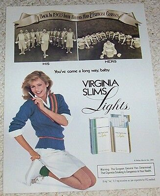 1983 print ad page -Virginia Slims cigarette sexy Girl smoking excercise classes