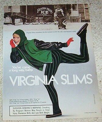 1987 print ad page -Virginia Slims cigarette sexy Girl smoking horse ice company