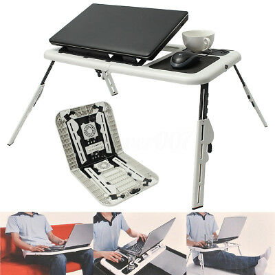 Lap Desk Foldable Laptop Table e-Table Bed With USB Cooling Stand Fans TV Tray