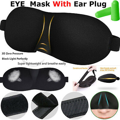 Sleeping 3D Eye Mask Ear Plugs Travel Sleeping Rest Aid Shade Cover Relax Set #1