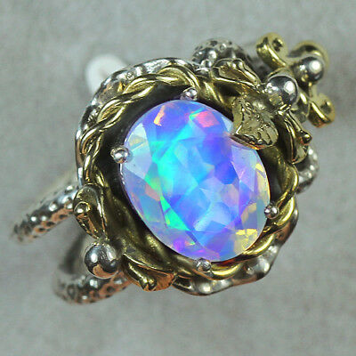 33.4CT Natural 925 Silver Oval Ethiopian White Opal Vintage Ring COLY102