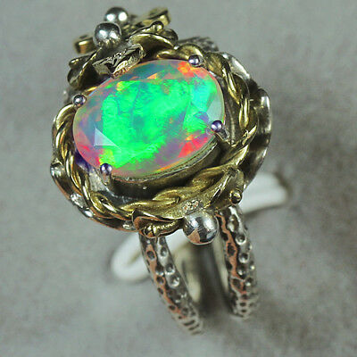 33.6CT Natural 925 Silver Oval Ethiopian White Opal Vintage Ring COLY103
